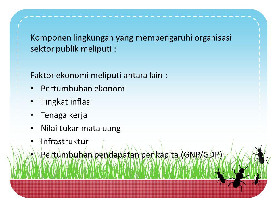 Komponen lingkungan yang mempengaruhi organisasi sektor publik meliputi : Faktor ekonomi meliputi antara lain : Pertumbuhan ekonomi Tingkat inflasi Te