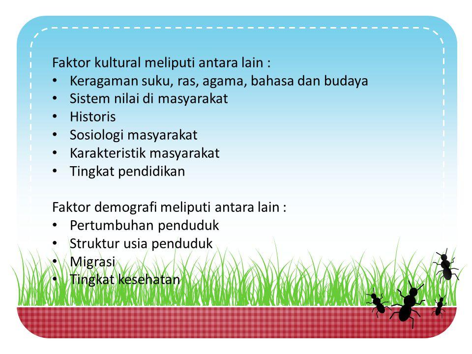 Faktor kultural meliputi antara lain : Keragaman suku, ras, agama, bahasa dan budaya Sistem nilai di masyarakat Historis Sosiologi masyarakat Karakter