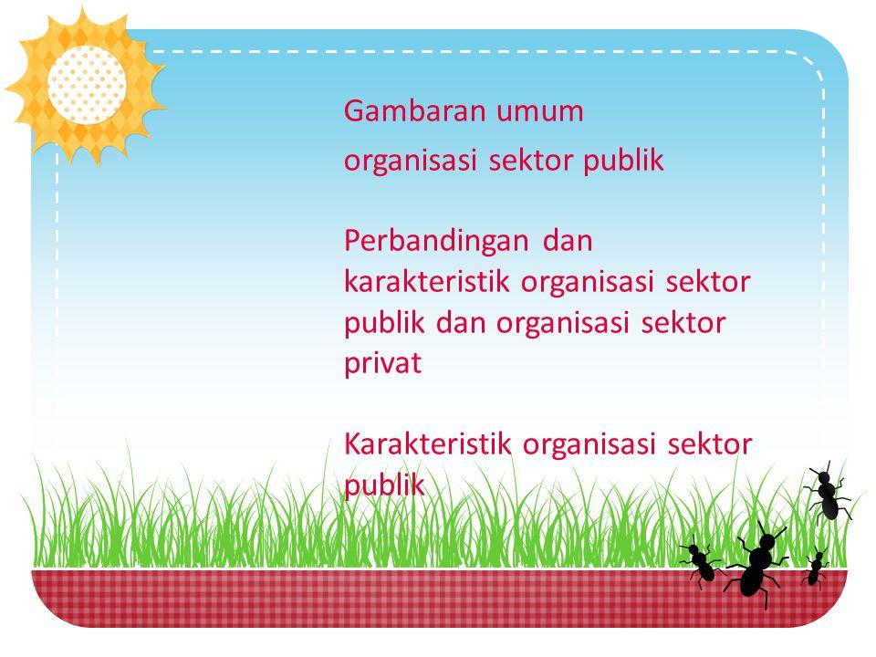 Gambaran umum organisasi sektor publik Perbandingan dan karakteristik organisasi sektor publik dan organisasi sektor privat Karakteristik organisasi s