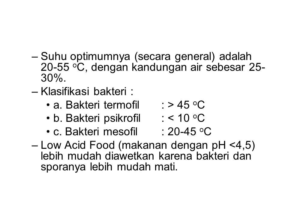 –Suhu optimumnya (secara general) adalah 20-55 o C, dengan kandungan air sebesar 25- 30%.