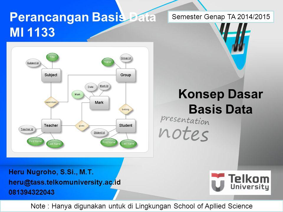 Perancangan Basis Data MI 1133 Heru Nugroho, S.Si., M.T. heru@tass.telkomuniversity.ac.id 081394322043 Konsep Dasar Basis Data Semester Genap TA 2014/