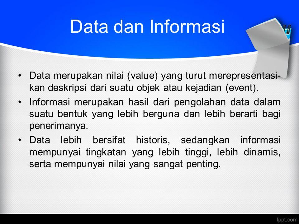 Data dan Informasi Data merupakan nilai (value) yang turut merepresentasi- kan deskripsi dari suatu objek atau kejadian (event). Informasi merupakan h