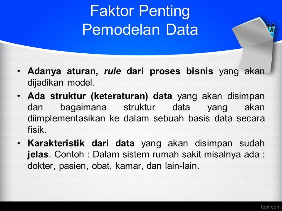 Faktor Penting Pemodelan Data Adanya aturan, rule dari proses bisnis yang akan dijadikan model. Ada struktur (keteraturan) data yang akan disimpan dan