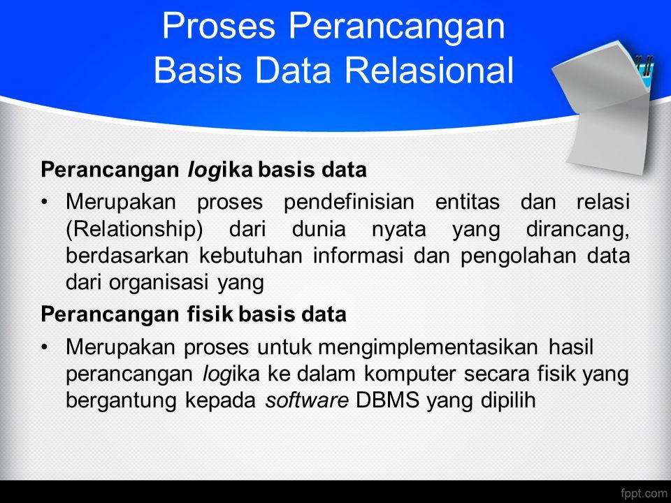 Proses Perancangan Basis Data Relasional Perancangan logika basis data Merupakan proses pendefinisian entitas dan relasi (Relationship) dari dunia nya