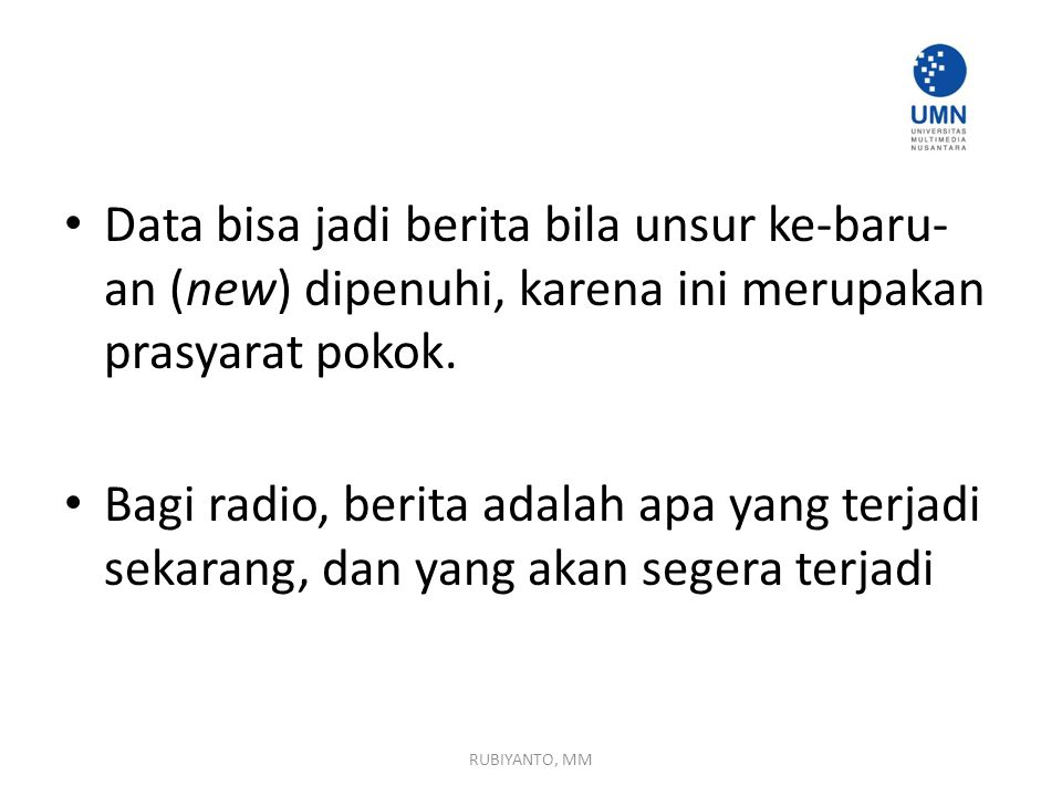 Perbedaan Hard News & Soft News RUBIYANTO, MM