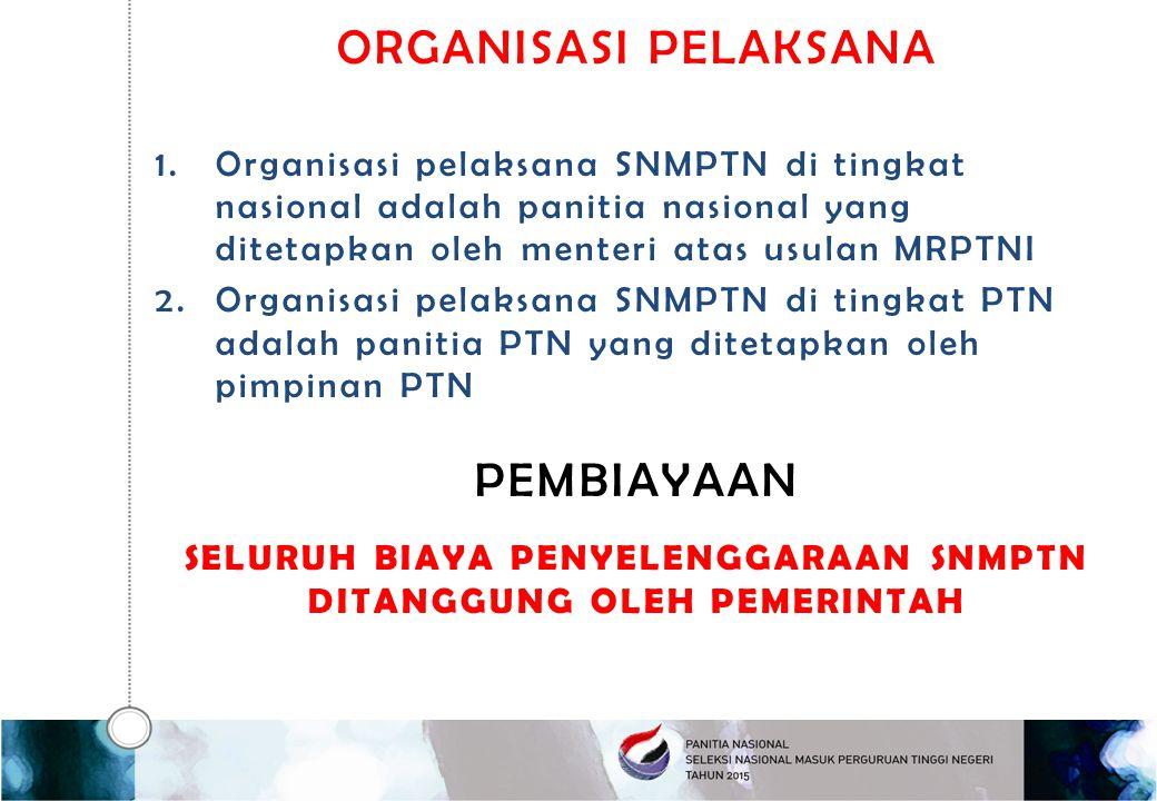 ORGANISASI PELAKSANA 1.Organisasi pelaksana SNMPTN di tingkat nasional adalah panitia nasional yang ditetapkan oleh menteri atas usulan MRPTNI 2.Organ