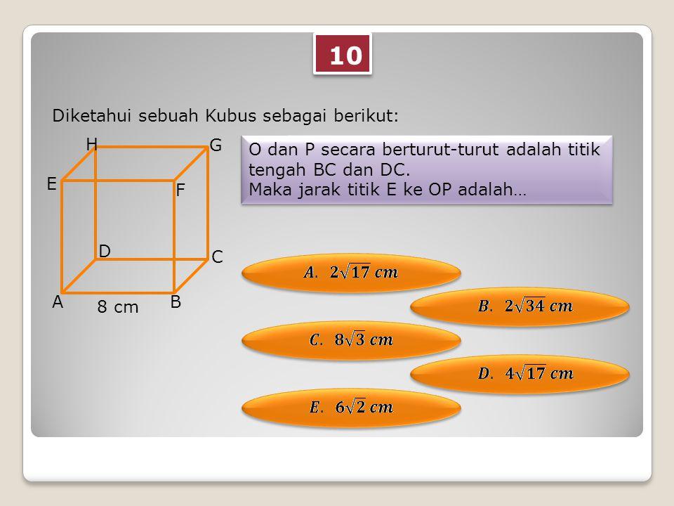 10 Diketahui sebuah Kubus sebagai berikut: O dan P secara berturut-turut adalah titik tengah BC dan DC.