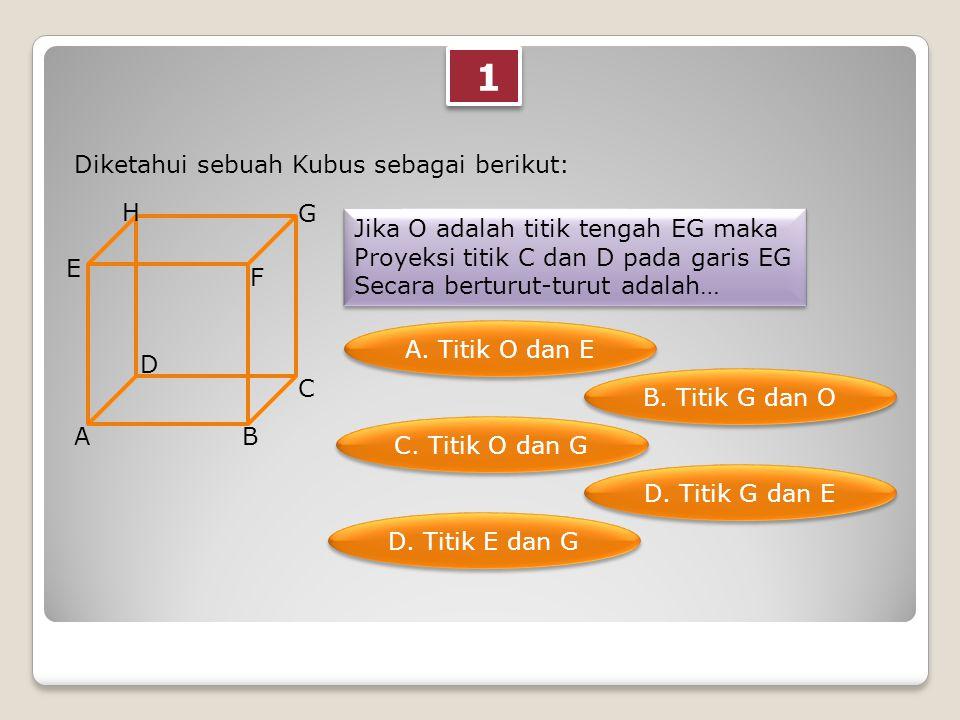 1 1 Diketahui sebuah Kubus sebagai berikut: AB C D E F G H Jika O adalah titik tengah EG maka Proyeksi titik C dan D pada garis EG Secara berturut-turut adalah… Jika O adalah titik tengah EG maka Proyeksi titik C dan D pada garis EG Secara berturut-turut adalah… A.