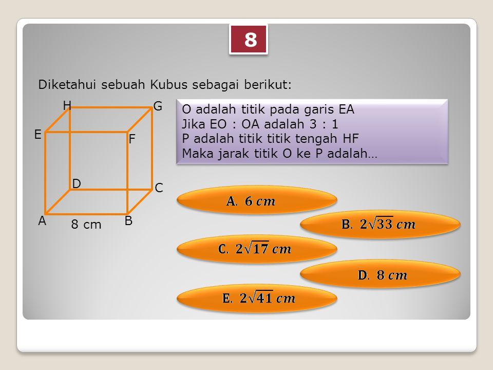 8 8 Diketahui sebuah Kubus sebagai berikut: O adalah titik pada garis EA Jika EO : OA adalah 3 : 1 P adalah titik titik tengah HF Maka jarak titik O ke P adalah… O adalah titik pada garis EA Jika EO : OA adalah 3 : 1 P adalah titik titik tengah HF Maka jarak titik O ke P adalah… AB C D E F G H 8 cm