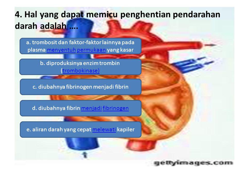 4. Hal yang dapat memicu penghentian pendarahan darah adalah …. a. trombosit dan faktor-faktor lainnya pada plasma menyentuh permukaan yang kasarmenye