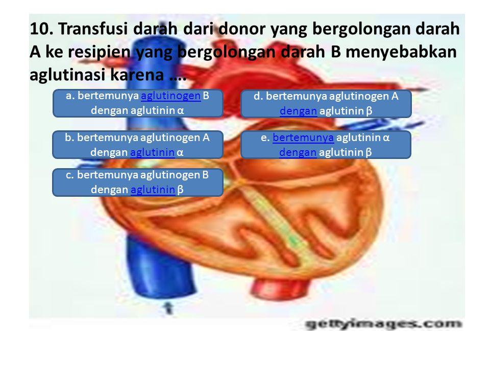 10. Transfusi darah dari donor yang bergolongan darah A ke resipien yang bergolongan darah B menyebabkan aglutinasi karena …. a. bertemunya aglutinoge