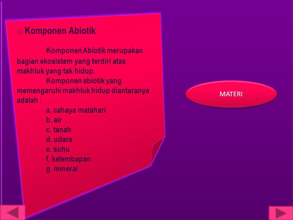 o Komponen Abiotik Komponen Abiotik merupakan bagian ekosistem yang terdiri atas makhluk yang tak hidup. Komponen abiotik yang memengaruhi makhluk hid