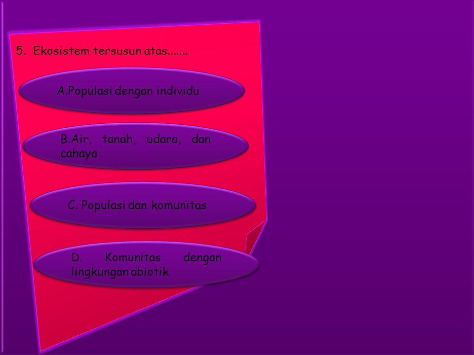 A.Populasi dengan individu A.Populasi dengan individu 5. Ekosistem tersusun atas....... B.Air, tanah, udara, dan cahaya B.Air, tanah, udara, dan cahay