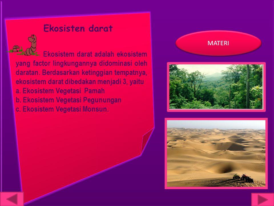 Ekosisten darat Ekosistem darat adalah ekosistem yang factor lingkungannya didominasi oleh daratan. Berdasarkan ketinggian tempatnya, ekosistem darat
