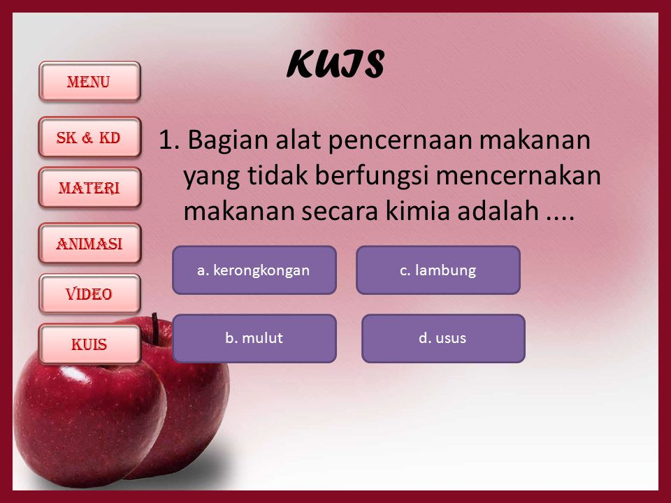 MENU SK & KD KUIS ANIMASI MATERI ViDEO KUIS 1.