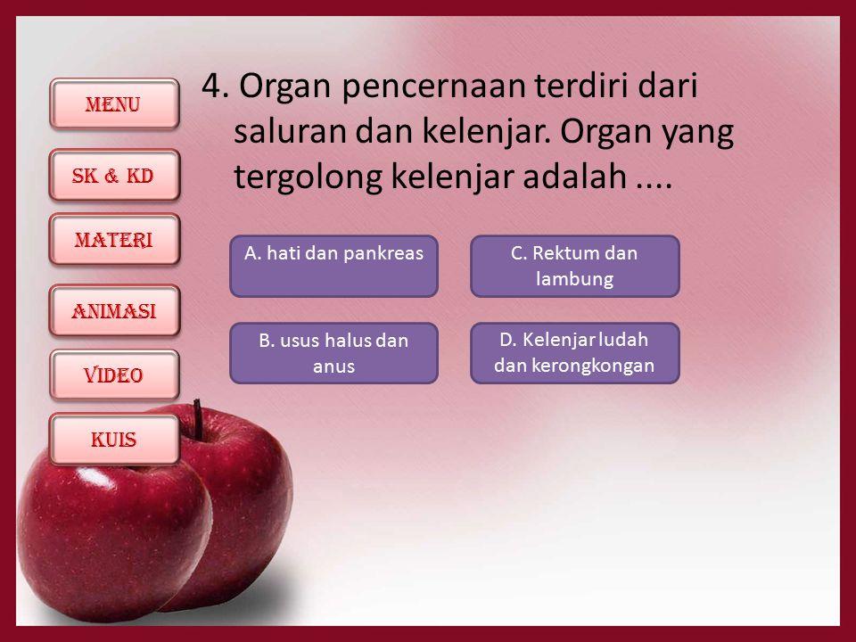 MENU SK & KD KUIS ANIMASI MATERI ViDEO 4. Organ pencernaan terdiri dari saluran dan kelenjar. Organ yang tergolong kelenjar adalah.... A. hati dan pan