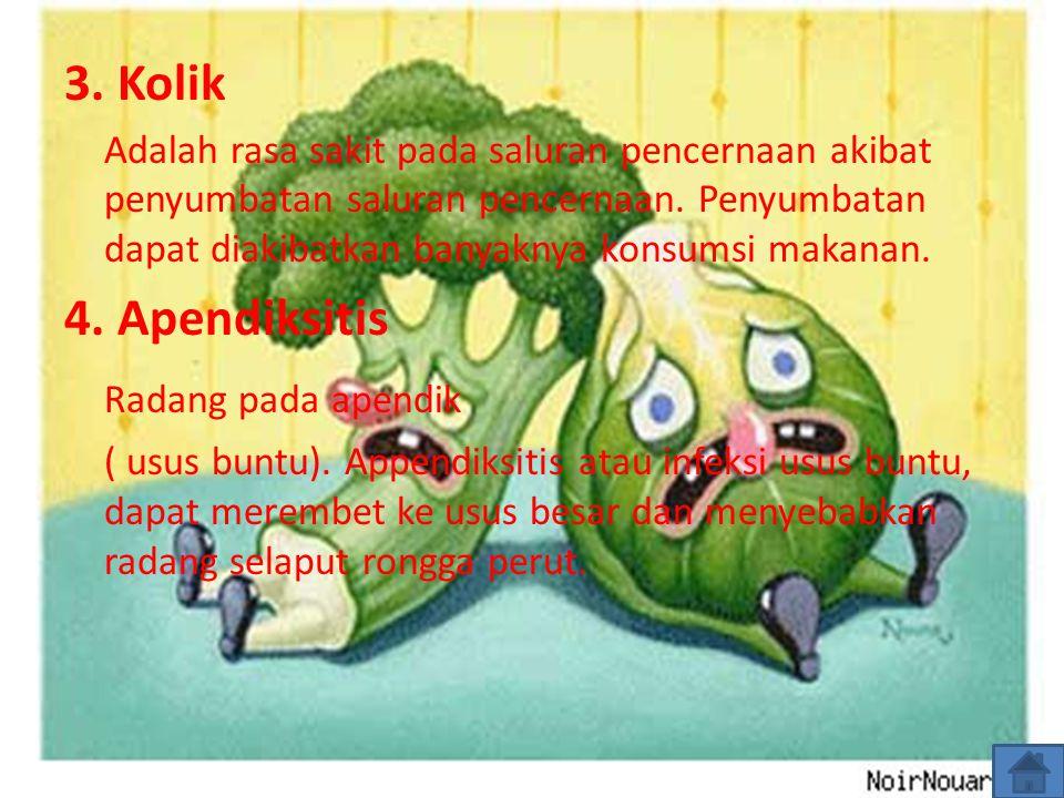 3. Kolik Adalah rasa sakit pada saluran pencernaan akibat penyumbatan saluran pencernaan. Penyumbatan dapat diakibatkan banyaknya konsumsi makanan. 4.