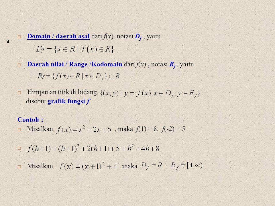 4  Domain / daerah asal dari f(x), notasi D f, yaitu  Daerah nilai / Range /Kodomain dari f(x), notasi R f, yaitu  Himpunan titik di bidang, disebu