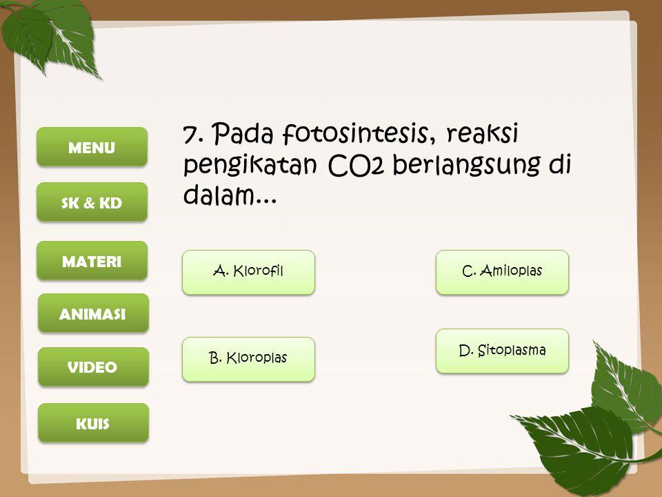 MENU SK & KD MATERI ANIMASI KUIS VIDEO 7. Pada fotosintesis, reaksi pengikatan CO2 berlangsung di dalam... A. Klorofil B. Kloroplas D. Sitoplasma C. A