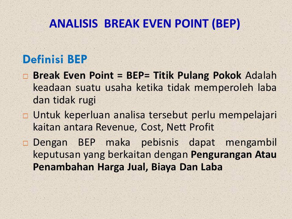 ANALISIS BREAK EVEN POINT (BEP) Definisi BEP  Break Even Point = BEP= Titik Pulang Pokok Adalah keadaan suatu usaha ketika tidak memperoleh laba dan