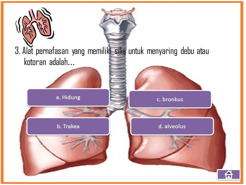 3. Alat pernafasan yang memiliki silia untuk menyaring debu atau kotoran adalah... a. Hidung b. Trakea d. alveolus c. bronkus