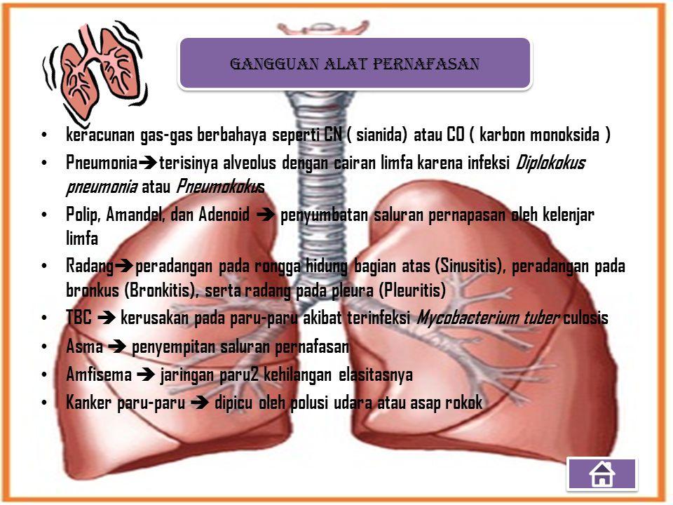 keracunan gas-gas berbahaya seperti CN ( sianida) atau CO ( karbon monoksida ) Pneumonia  terisinya alveolus dengan cairan limfa karena infeksi Diplo