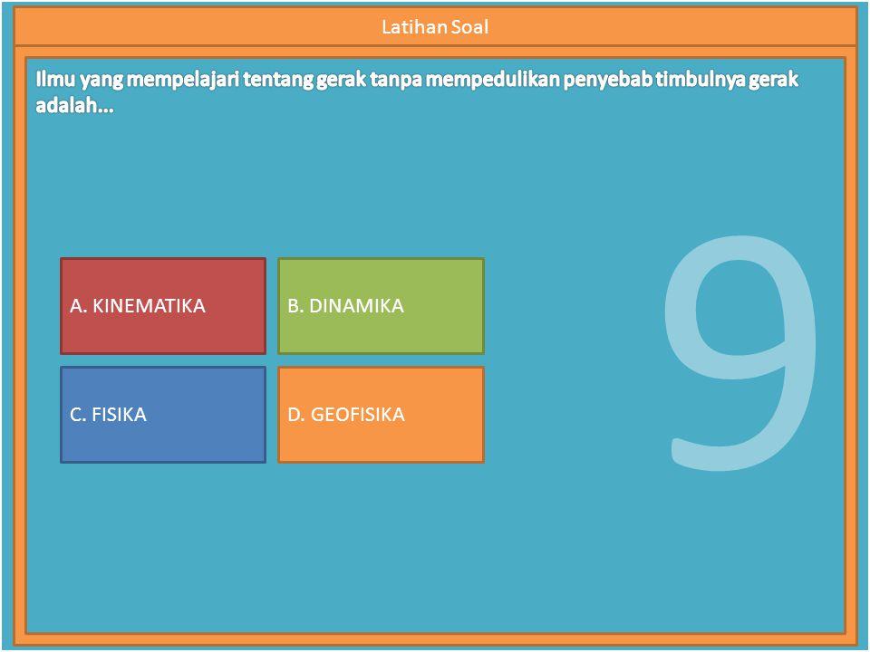 9 Latihan Soal A. KINEMATIKA C. FISIKA B. DINAMIKA D. GEOFISIKA