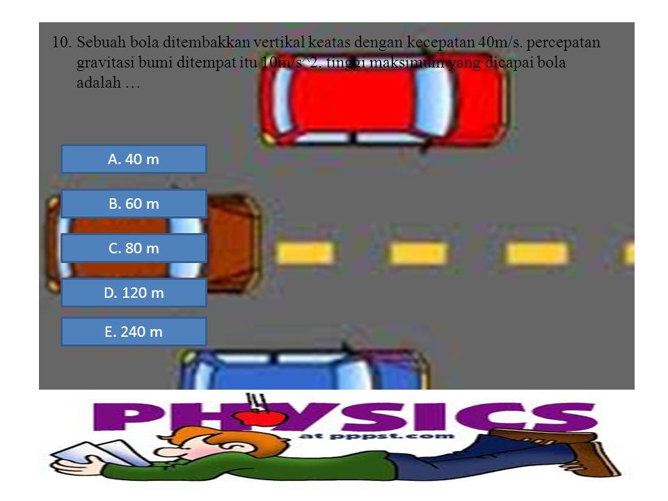 10.Sebuah bola ditembakkan vertikal keatas dengan kecepatan 40m/s. percepatan gravitasi bumi ditempat itu 10m/s^2. tinggi maksimum yang dicapai bola a