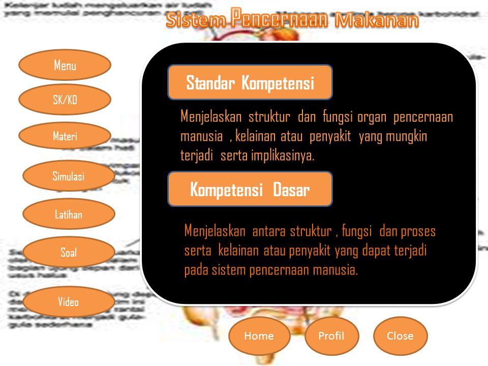 Menu HomeProfilClose Materi Simulasi Latihan Soal SK/KD Video Standa r Kompe tensi Menjelaskan struktur dan fungsi organ pencernaan manusia, kelainan