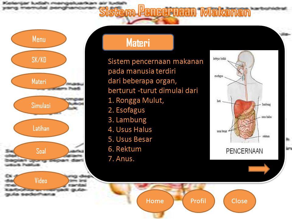 Menu HomeProfilClose Materi Simulasi Latihan Soal SK/KD Video Sistem pencernaan makanan pada manusia terdiri dari beberapa organ, berturut -turut dimulai dari 1.