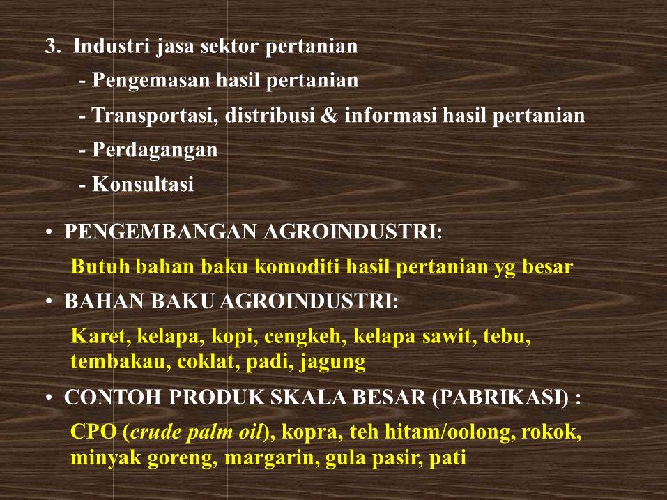 3. Industri jasa sektor pertanian - Pengemasan hasil pertanian - Transportasi, distribusi & informasi hasil pertanian - Perdagangan - Konsultasi PENGE