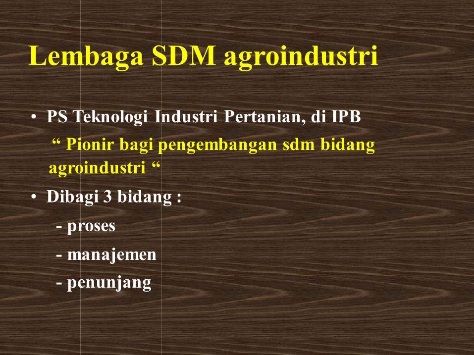 "Lembaga SDM agroindustri PS Teknologi Industri Pertanian, di IPB "" Pionir bagi pengembangan sdm bidang agroindustri "" Dibagi 3 bidang : - proses - man"
