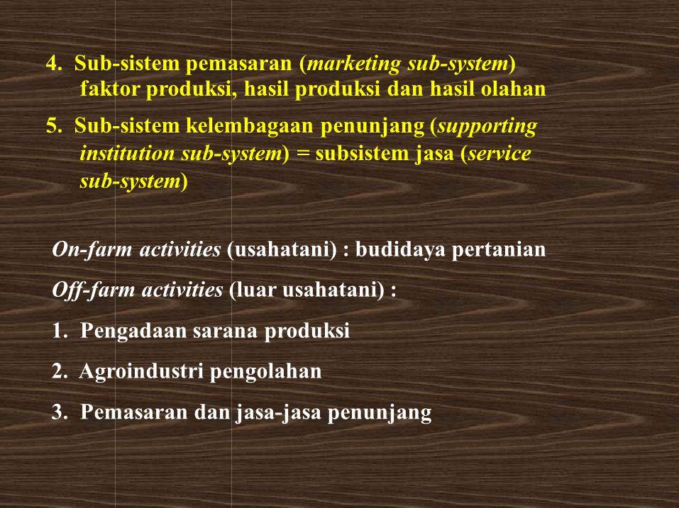 4. Sub-sistem pemasaran (marketing sub-system) faktor produksi, hasil produksi dan hasil olahan 5. Sub-sistem kelembagaan penunjang (supporting instit