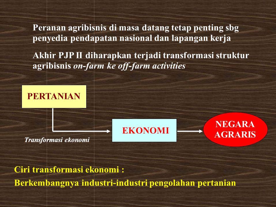 Peranan agribisnis di masa datang tetap penting sbg penyedia pendapatan nasional dan lapangan kerja Akhir PJP II diharapkan terjadi transformasi struk