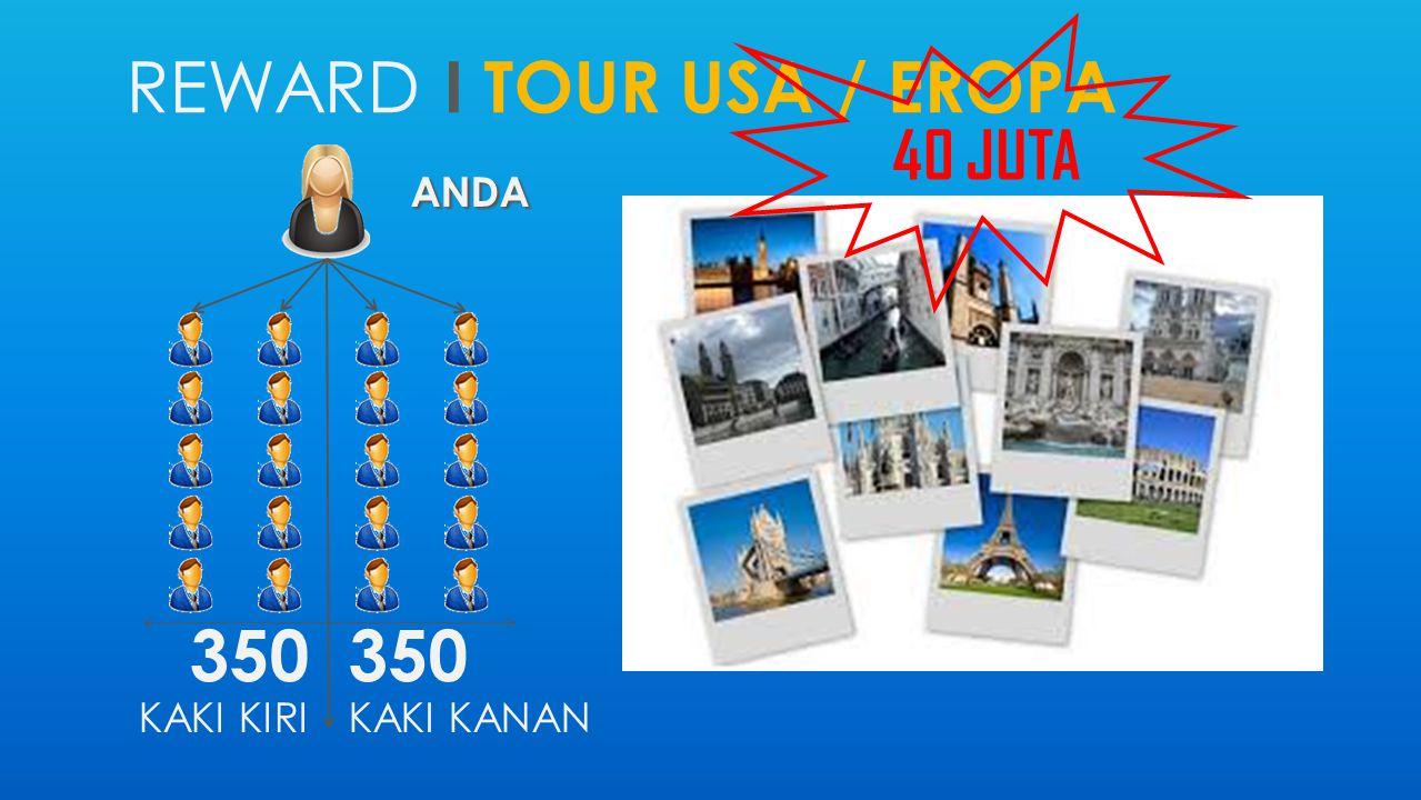 REWARD I TOUR USA / EROPA ANDA 350 KAKI KIRI 350 KAKI KANAN 40 JUTA