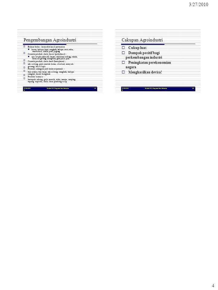3/27/2010 4 27/03/201 0 Kuliah XII, Pengantar Ilmu Pertanian19 Pengembangan Agroindustri  Bahan baku : komoditi hasil pertanian  kare