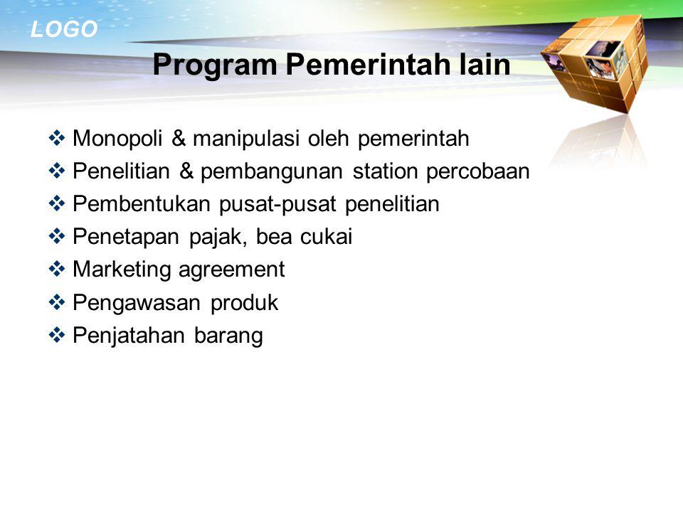 LOGO Program Intervensi  Pemerintah ikut secara langsung dlm mslh2 pemasaran brg-brg yg dianggap penting bagi kesejahteraan penduduk  Tujuan : melii