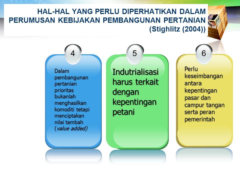 LOGO HAL-HAL YANG PERLU DIPERHATIKAN DALAM PERUMUSAN KEBIJAKAN PEMBANGUNAN PERTANIAN (Stighlitz (2004 )) 1 Usaha pengembangan ekonomi lebih fokus ke s