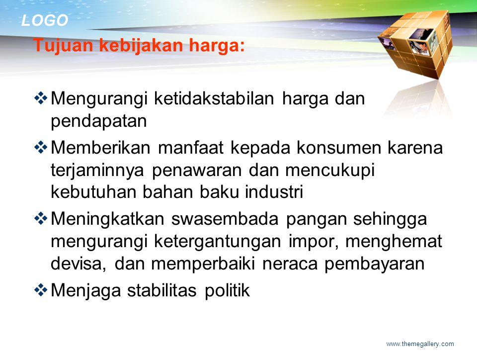 LOGO Kebijakan pemerintah Indonesia di bidang pertanian mencakup beberapa hal:  kebijakan harga  kebijakan perdagangan  Kebijakan subsidi  Kebijak