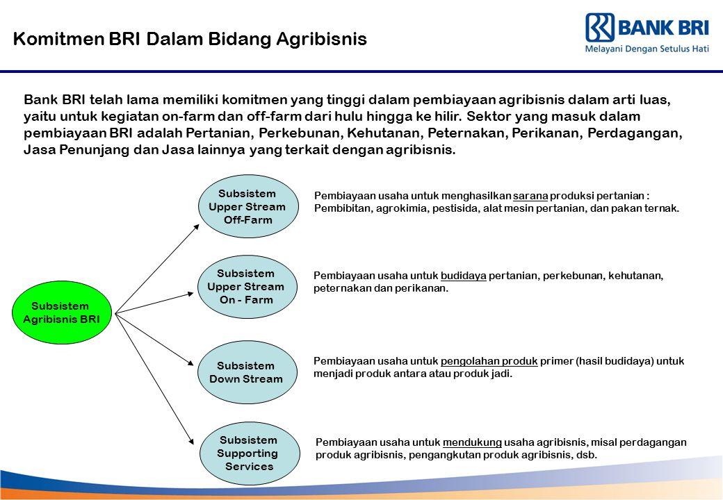 Komitmen BRI Dalam Bidang Agribisnis Bank BRI telah lama memiliki komitmen yang tinggi dalam pembiayaan agribisnis dalam arti luas, yaitu untuk kegiat
