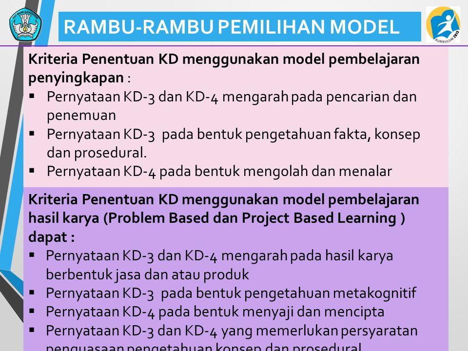 43 RAMBU-RAMBU PEMILIHAN MODEL Kriteria Penentuan KD menggunakan model pembelajaran penyingkapan :  Pernyataan KD-3 dan KD-4 mengarah pada pencarian dan penemuan  Pernyataan KD-3 pada bentuk pengetahuan fakta, konsep dan prosedural.