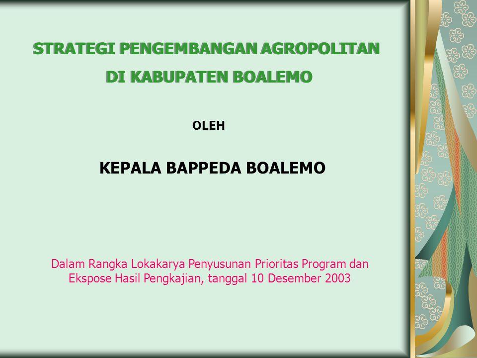 STRATEGI PENGEMBANGAN AGROPOLITAN DI KABUPATEN BOALEMO STRATEGI PENGEMBANGAN AGROPOLITAN DI KABUPATEN BOALEMO OLEH KEPALA BAPPEDA BOALEMO Dalam Rangka Lokakarya Penyusunan Prioritas Program dan Ekspose Hasil Pengkajian, tanggal 10 Desember 2003