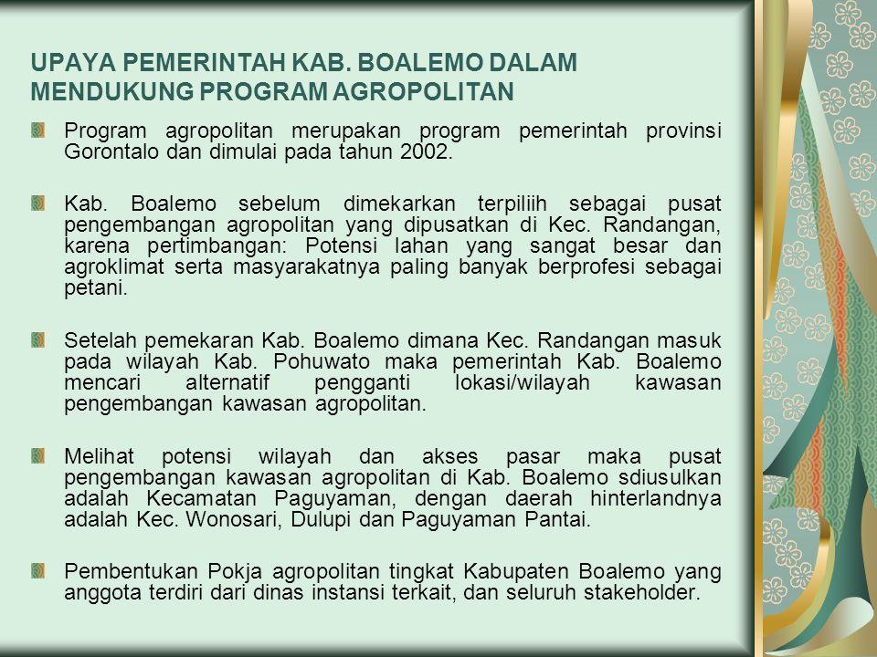 UPAYA PEMERINTAH KAB. BOALEMO DALAM MENDUKUNG PROGRAM AGROPOLITAN Program agropolitan merupakan program pemerintah provinsi Gorontalo dan dimulai pada