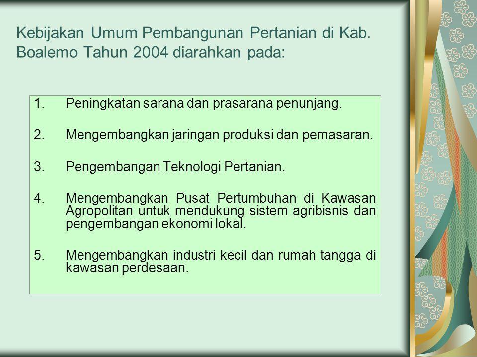 Kebijakan Umum Pembangunan Pertanian di Kab. Boalemo Tahun 2004 diarahkan pada: 1.Peningkatan sarana dan prasarana penunjang. 2.Mengembangkan jaringan