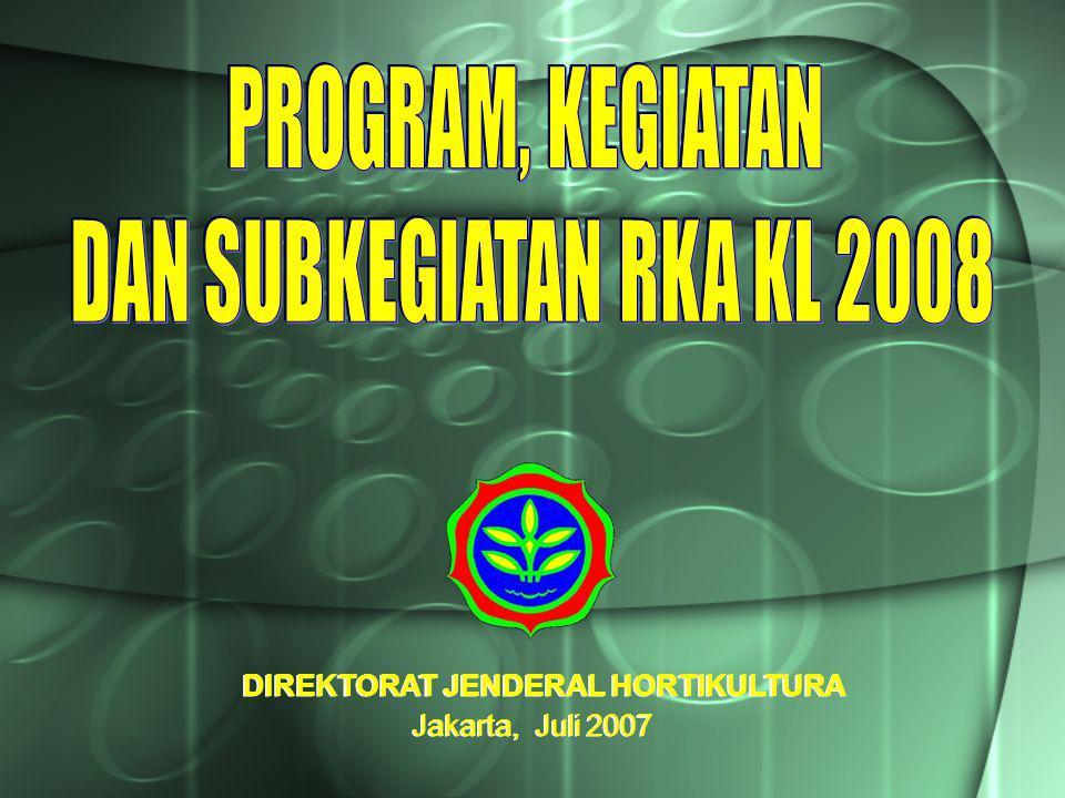 DIREKTORAT JENDERAL HORTIKULTURA Jakarta, Juli 2007 DIREKTORAT JENDERAL HORTIKULTURA Jakarta, Juli 2007