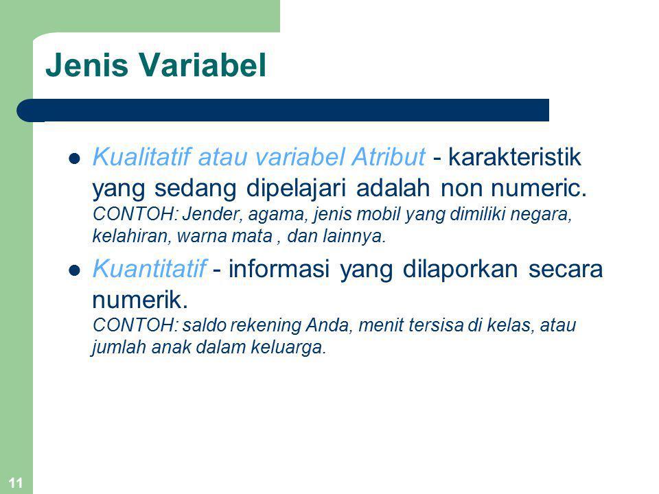 11 Jenis Variabel Kualitatif atau variabel Atribut - karakteristik yang sedang dipelajari adalah non numeric. CONTOH: Jender, agama, jenis mobil yang