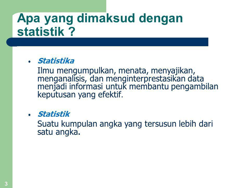 3 Apa yang dimaksud dengan statistik ? Statistika Ilmu mengumpulkan, menata, menyajikan, menganalisis, dan menginterprestasikan data menjadi informasi