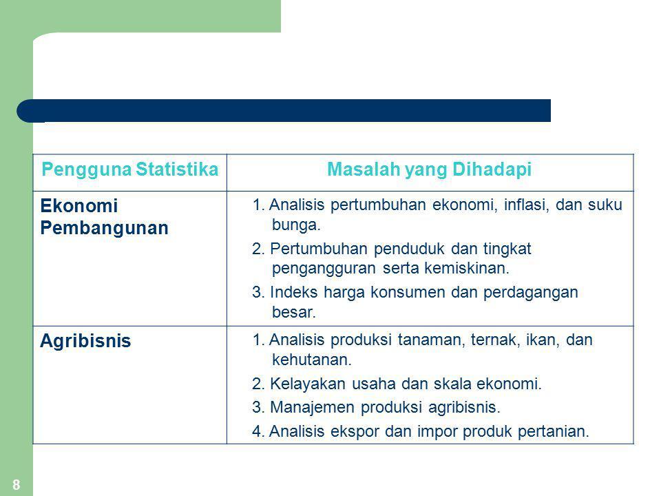 8 Pengguna StatistikaMasalah yang Dihadapi Ekonomi Pembangunan 1. Analisis pertumbuhan ekonomi, inflasi, dan suku bunga. 2. Pertumbuhan penduduk dan t