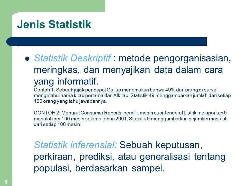 9 Jenis Statistik Statistik Deskriptif : metode pengorganisasian, meringkas, dan menyajikan data dalam cara yang informatif. Contoh 1: Sebuah jajak pe