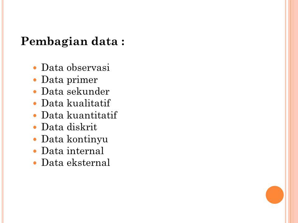 Pembagian data : Data observasi Data primer Data sekunder Data kualitatif Data kuantitatif Data diskrit Data kontinyu Data internal Data eksternal